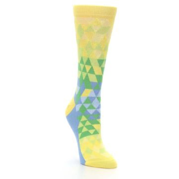 Image of Yellow Green Triangle Geometric Women's Dress Socks (side-1-front-02)