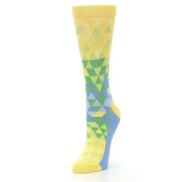 Image of Yellow Green Triangle Geometric Women's Dress Socks (side-2-front-08)