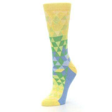 Image of Yellow Green Triangle Geometric Women's Dress Socks (side-2-09)