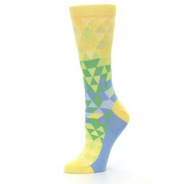 Image of Yellow Green Triangle Geometric Women's Dress Socks (side-2-10)