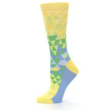 Image of Yellow Green Triangle Geometric Women's Dress Socks (side-2-11)