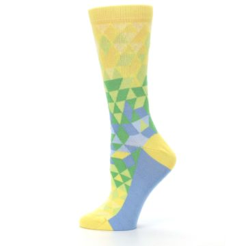 Image of Yellow Green Triangle Geometric Women's Dress Socks (side-2-12)