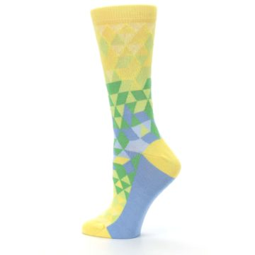 Image of Yellow Green Triangle Geometric Women's Dress Socks (side-2-13)