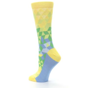 Image of Yellow Green Triangle Geometric Women's Dress Socks (side-2-back-14)