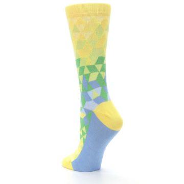Image of Yellow Green Triangle Geometric Women's Dress Socks (side-2-back-15)