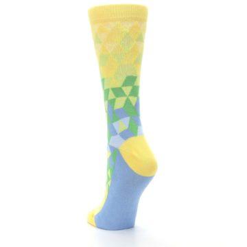 Image of Yellow Green Triangle Geometric Women's Dress Socks (side-2-back-16)