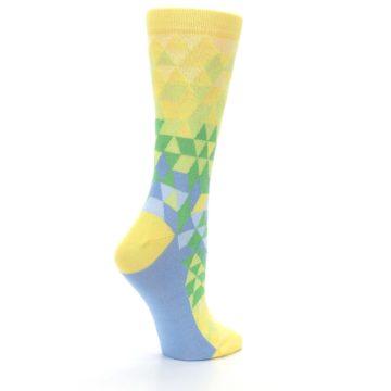 Image of Yellow Green Triangle Geometric Women's Dress Socks (side-1-23)