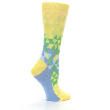 Image of Yellow Green Triangle Geometric Women's Dress Socks (side-1-24)