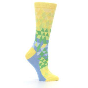 Image of Yellow Green Triangle Geometric Women's Dress Socks (side-1-25)
