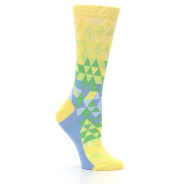 Image of Yellow Green Triangle Geometric Women's Dress Socks (side-1-26)