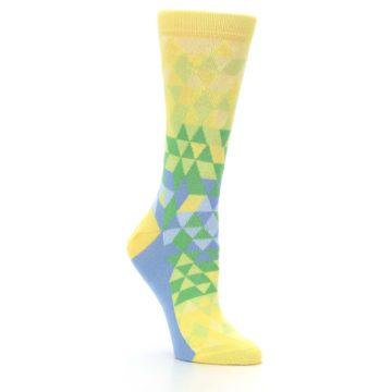 Image of Yellow Green Triangle Geometric Women's Dress Socks (side-1-27)