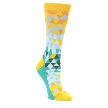 Golden-Yellow-Turquoise-Triangle-Geometric-Womens-Dress-Socks-Statement-Sockwear