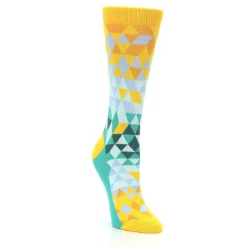 Image of Golden Yellow Turquoise Triangle Geometric Women's Dress Socks (side-1-front-02)
