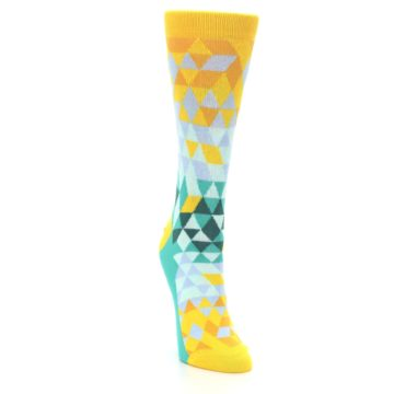 Image of Golden Yellow Turquoise Triangle Geometric Women's Dress Socks (side-1-front-03)