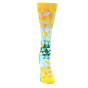 Image of Golden Yellow Turquoise Triangle Geometric Women's Dress Socks (front-04)