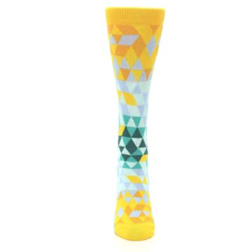 Image of Golden Yellow Turquoise Triangle Geometric Women's Dress Socks (front-05)