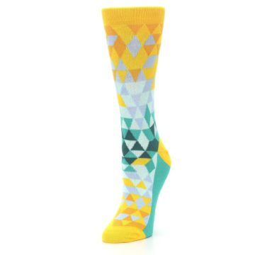 Image of Golden Yellow Turquoise Triangle Geometric Women's Dress Socks (side-2-front-08)