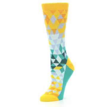Image of Golden Yellow Turquoise Triangle Geometric Women's Dress Socks (side-2-09)