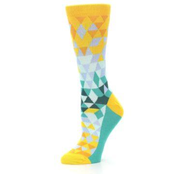 Image of Golden Yellow Turquoise Triangle Geometric Women's Dress Socks (side-2-10)