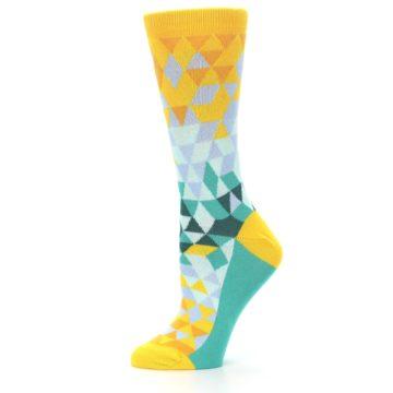 Image of Golden Yellow Turquoise Triangle Geometric Women's Dress Socks (side-2-11)