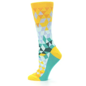 Image of Golden Yellow Turquoise Triangle Geometric Women's Dress Socks (side-2-12)