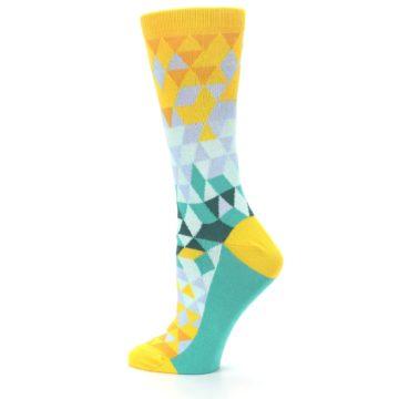 Image of Golden Yellow Turquoise Triangle Geometric Women's Dress Socks (side-2-13)