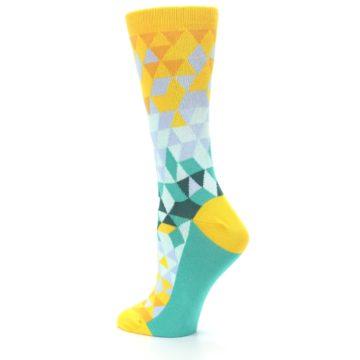 Image of Golden Yellow Turquoise Triangle Geometric Women's Dress Socks (side-2-back-14)