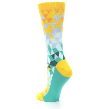 Image of Golden Yellow Turquoise Triangle Geometric Women's Dress Socks (side-2-back-15)