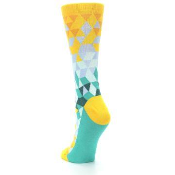 Image of Golden Yellow Turquoise Triangle Geometric Women's Dress Socks (side-2-back-16)