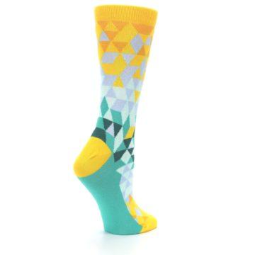 Image of Golden Yellow Turquoise Triangle Geometric Women's Dress Socks (side-1-23)