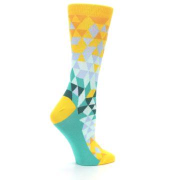 Image of Golden Yellow Turquoise Triangle Geometric Women's Dress Socks (side-1-24)