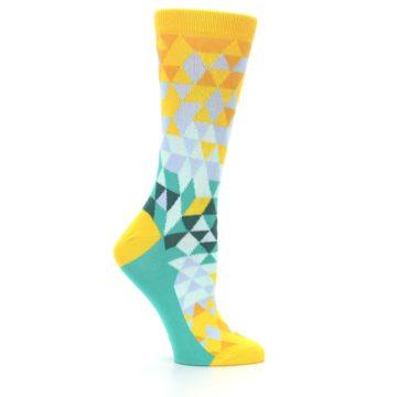 Image of Golden Yellow Turquoise Triangle Geometric Women's Dress Socks (side-1-25)