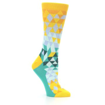 Image of Golden Yellow Turquoise Triangle Geometric Women's Dress Socks (side-1-26)