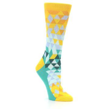 Image of Golden Yellow Turquoise Triangle Geometric Women's Dress Socks (side-1-27)