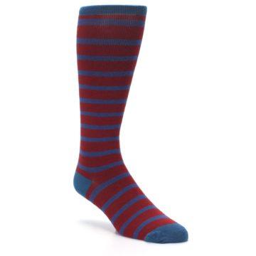 Image of Red Blue Stripe Men's Compression Dress Socks (side-1-front-01)
