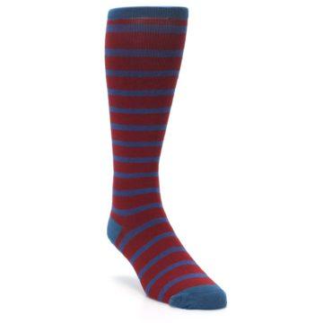 Image of Red Blue Stripe Men's Compression Dress Socks (side-1-front-02)