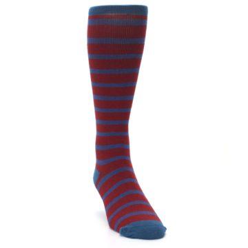 Image of Red Blue Stripe Men's Compression Dress Socks (side-1-front-03)