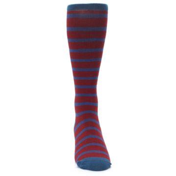 Image of Red Blue Stripe Men's Compression Dress Socks (front-04)