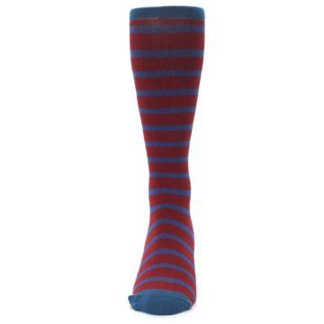 Image of Red Blue Stripe Men's Compression Dress Socks (front-05)