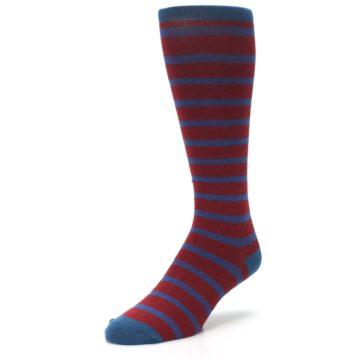 Image of Red Blue Stripe Men's Compression Dress Socks (side-2-front-08)