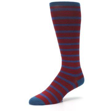 Image of Red Blue Stripe Men's Compression Dress Socks (side-2-09)