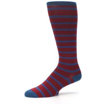 Image of Red Blue Stripe Men's Compression Dress Socks (side-2-10)