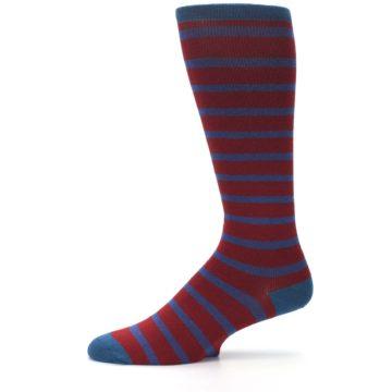 Image of Red Blue Stripe Men's Compression Dress Socks (side-2-11)