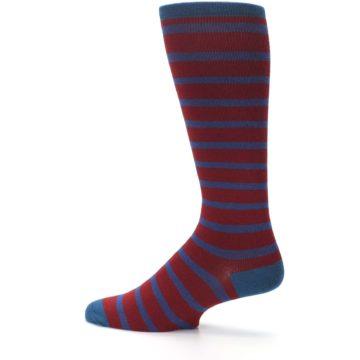 Image of Red Blue Stripe Men's Compression Dress Socks (side-2-13)