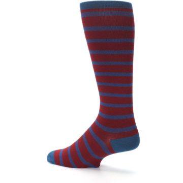 Image of Red Blue Stripe Men's Compression Dress Socks (side-2-back-14)