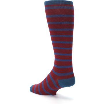 Image of Red Blue Stripe Men's Compression Dress Socks (side-2-back-15)