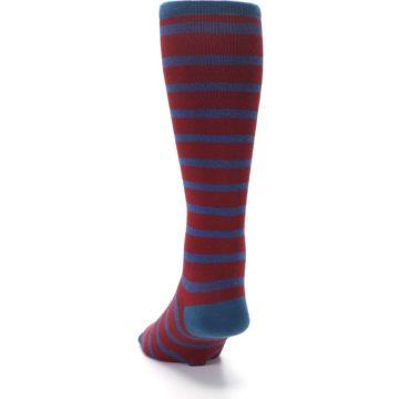 Image of Red Blue Stripe Men's Compression Dress Socks (back-17)