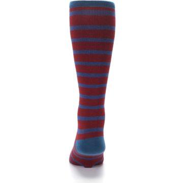 Image of Red Blue Stripe Men's Compression Dress Socks (back-18)