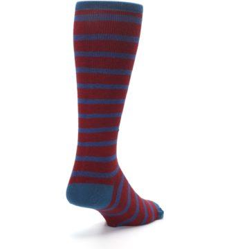 Image of Red Blue Stripe Men's Compression Dress Socks (side-1-back-21)