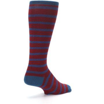 Image of Red Blue Stripe Men's Compression Dress Socks (side-1-back-22)